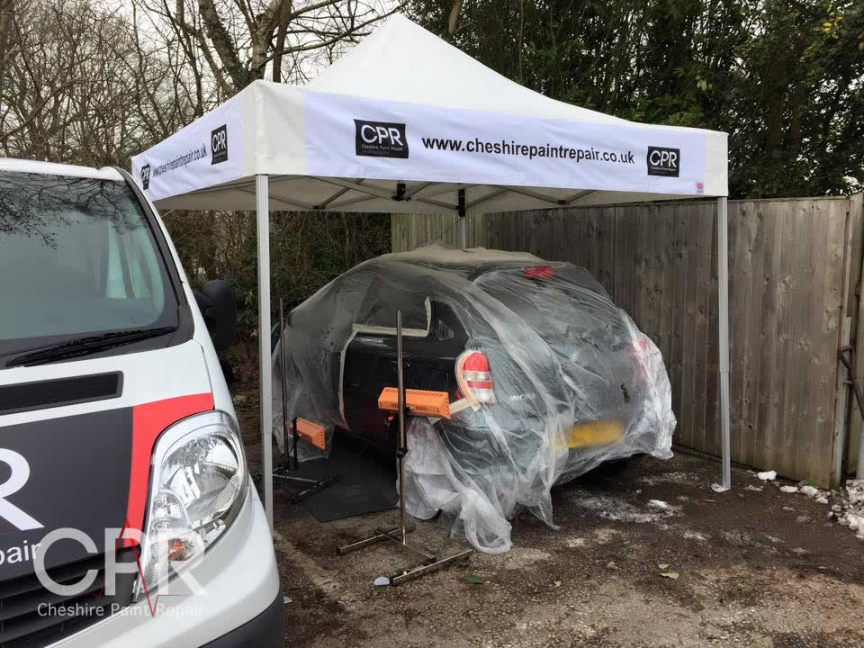 Our new all weather bespoke work canopy allows us to carry out our repairs in almost any weather conditions! & All Weather Canopy - Cheshire Paint Repair